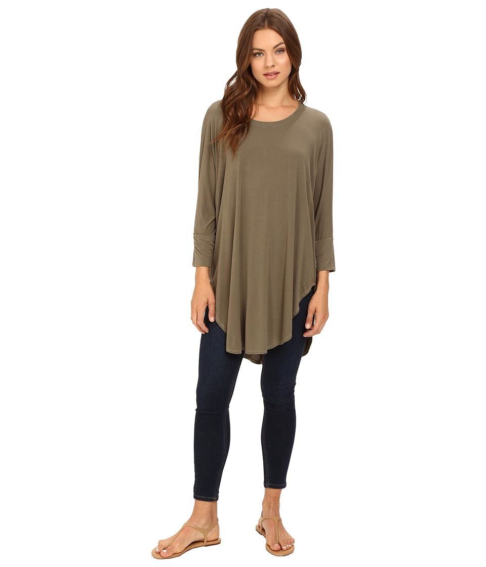 Michael Stars - Jersey Lycra 3/4 Sleeve Poncho Tunic (Caper) Women's Blouse