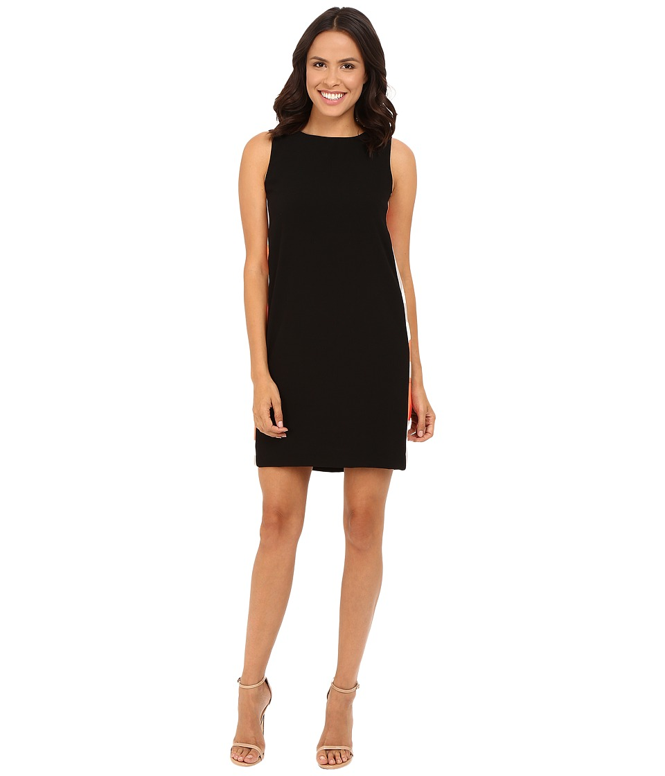 Tahari by ASL - Crepe Shift Dress w/ Printed Side Panels and V-Back (Black) Women's Dress