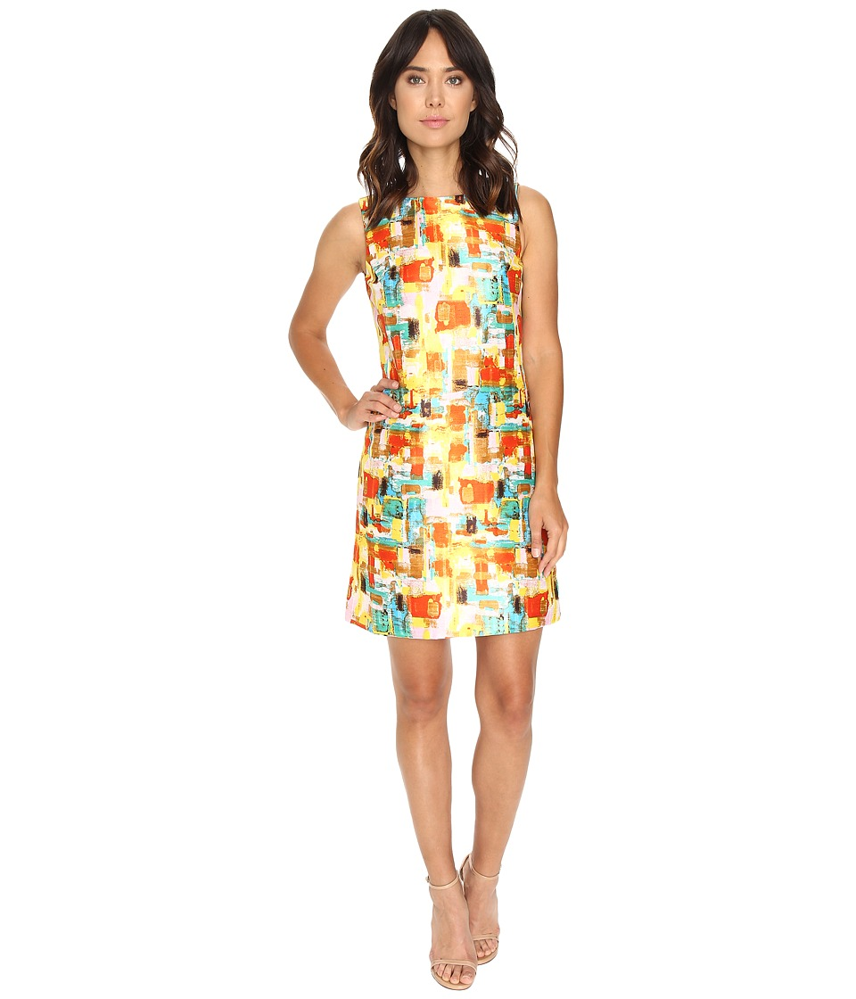 Tahari by ASL - Paint Print Sleeveless Shift Dress (Stone/Orange/Aqua) Women's Dress