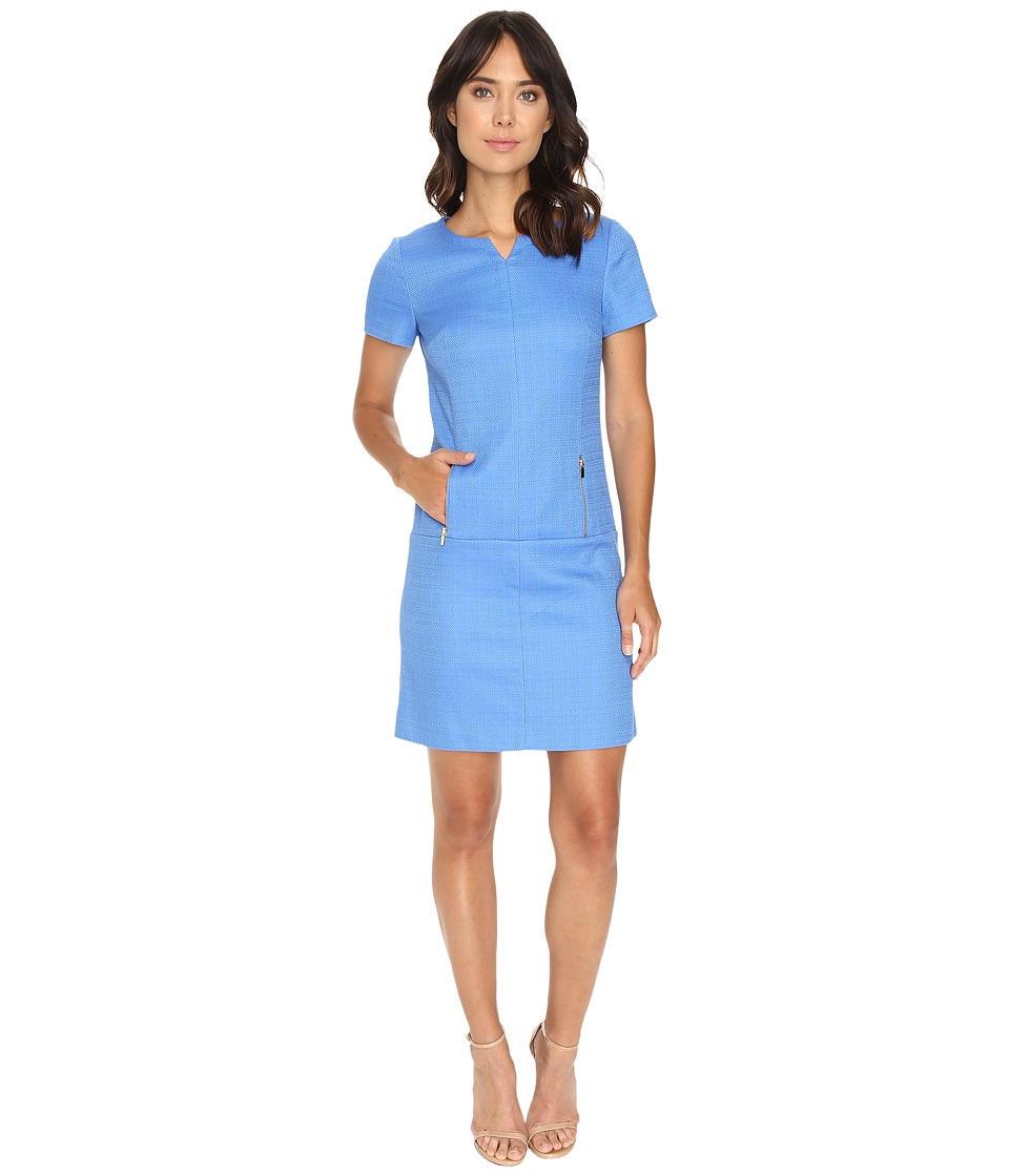Tahari by ASL - Dropped Waist Textured Shift Dress w/ Pockets (Lake Blue) Women's Dress