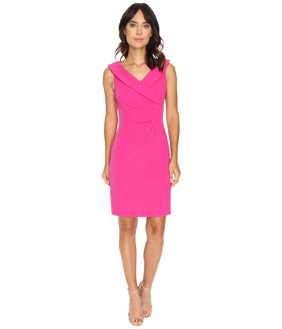 Tahari by ASL - Crepe Envelope Neck Sheath Dress w/ Side Ruche (Fuchsia) Women's Dress