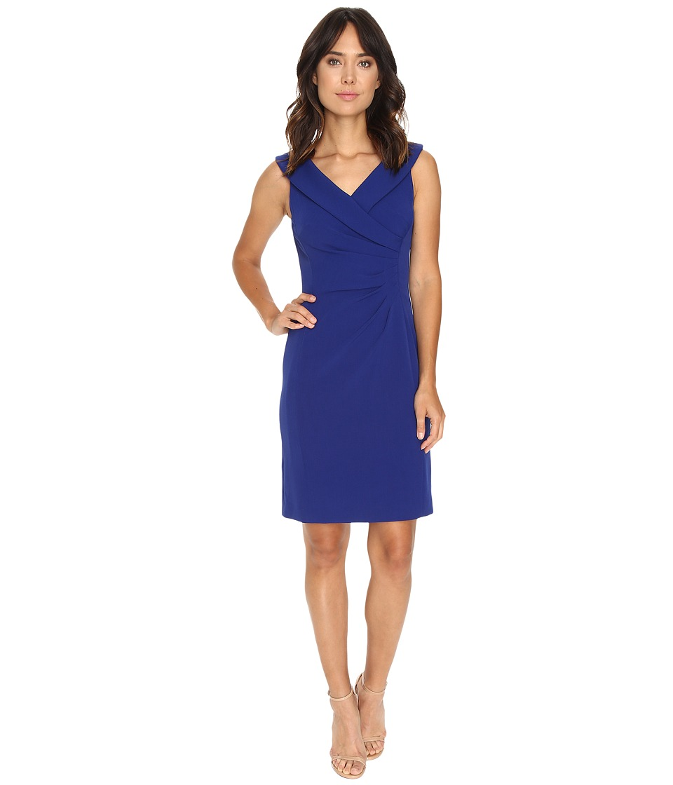 Tahari by ASL - Crepe Envelope Neck Sheath Dress w/ Side Ruche (Cobalt) Women's Dress