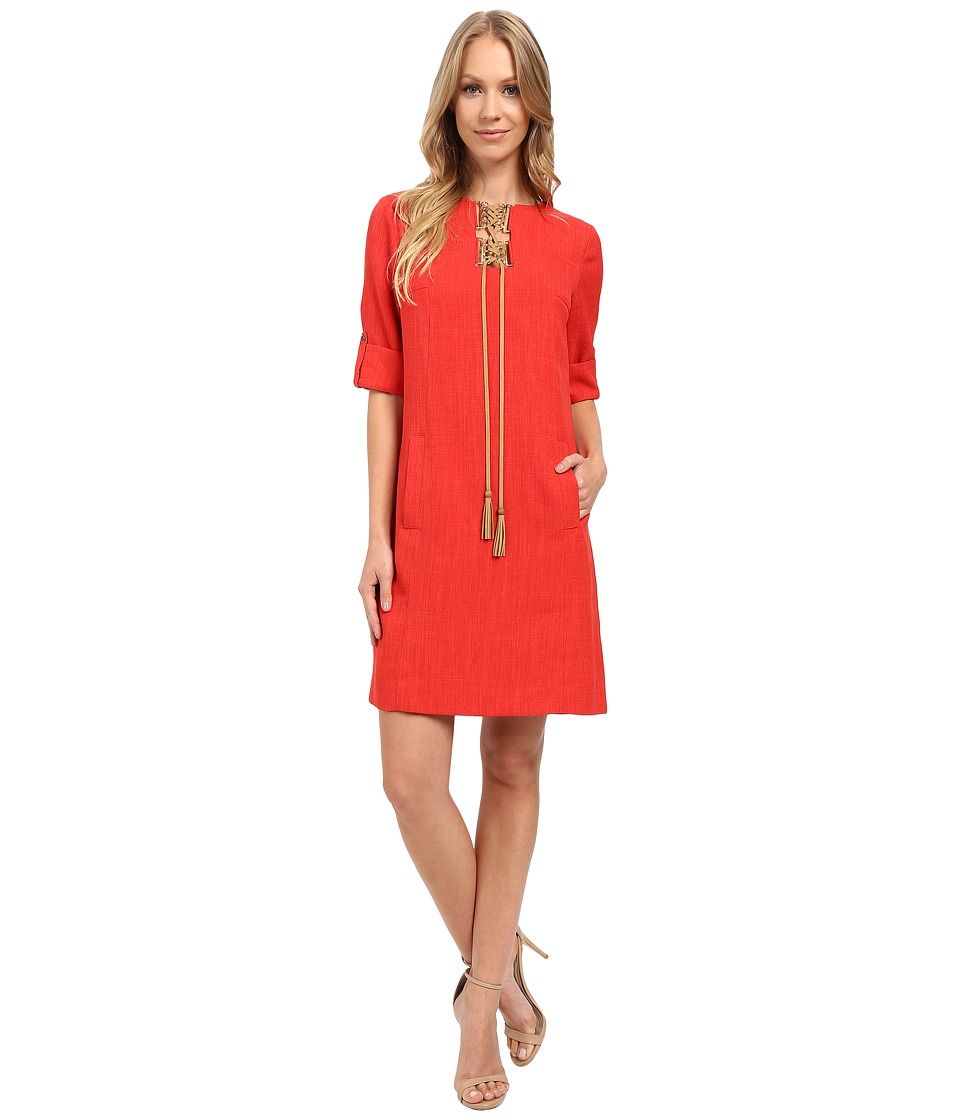 Tahari by ASL - Grasscloth Short Sleeved Tunic Dress w/ Lace-Up Placket (Poppy Red) Women's Dress