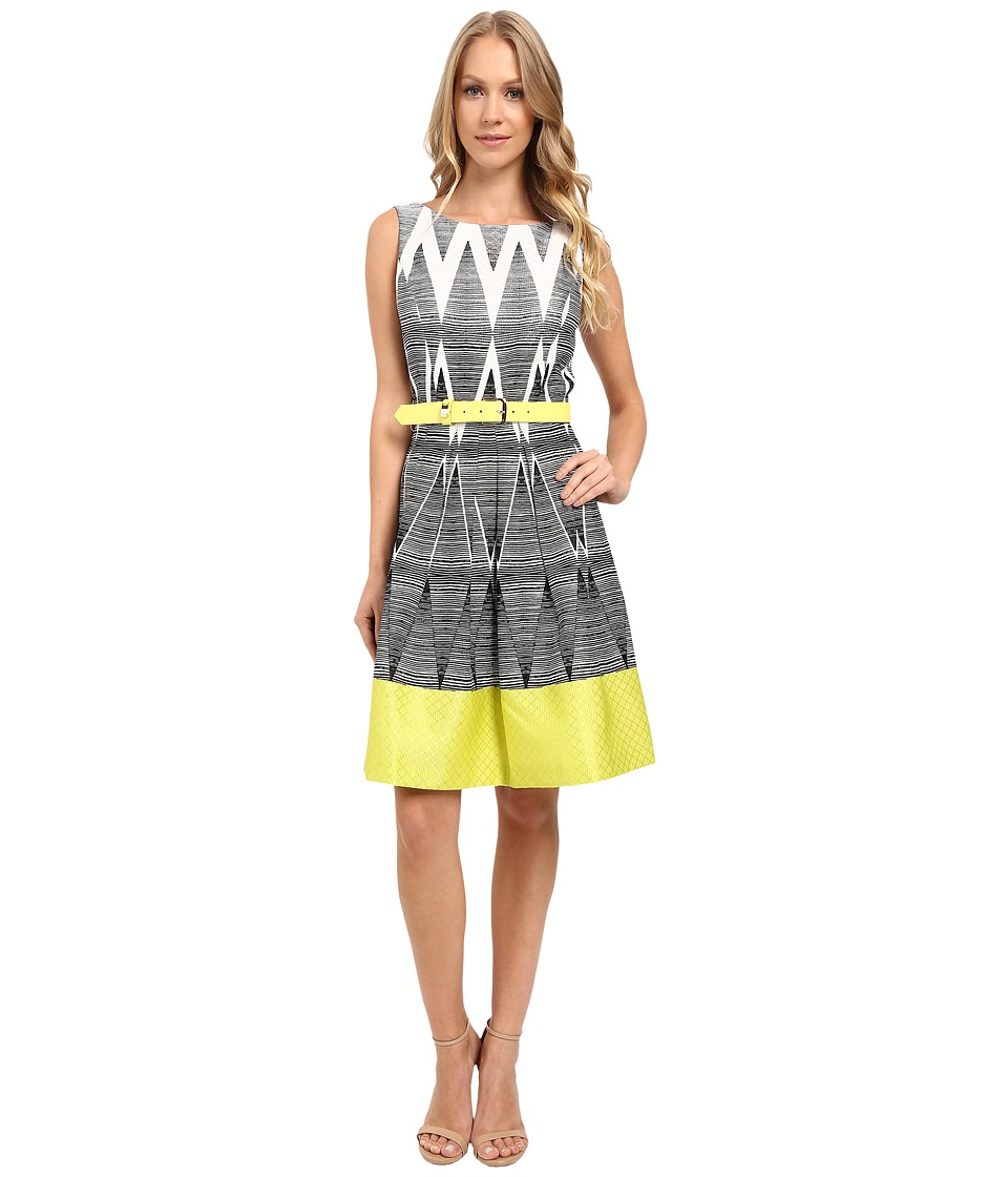 Tahari by ASL - Geometric Ombre Printed Fit and Flare w/ Pop Belt (Lime Green) Women's Dress