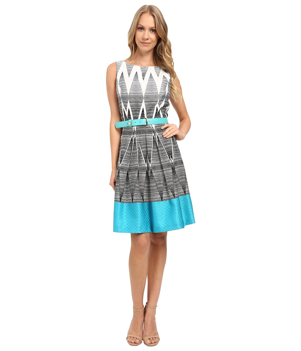 Tahari by ASL - Geometric Ombre Printed Fit and Flare w/ Pop Belt (Turquoise) Women's Dress