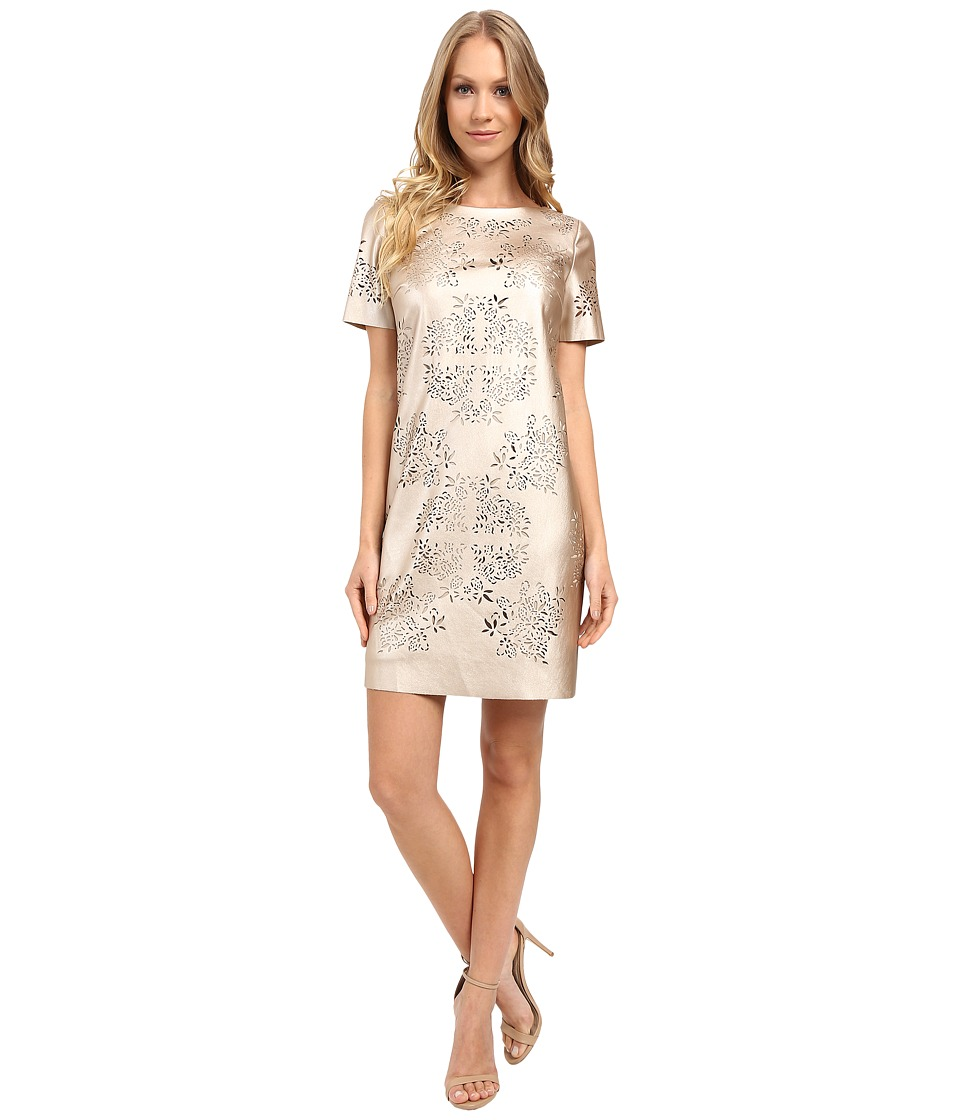 Tahari by ASL - Laser Cut Faux Leather Shift Dress (Gold) Women's Dress