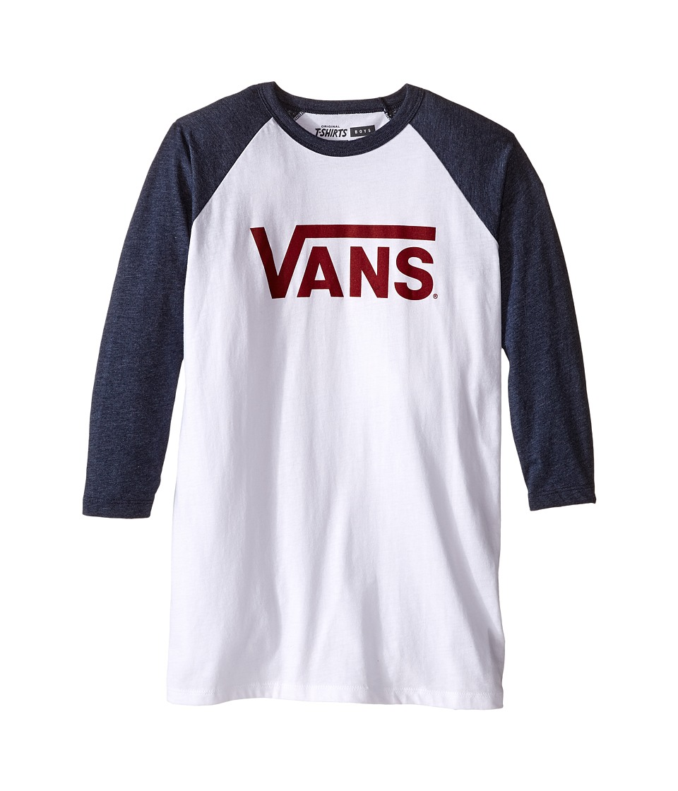 Vans Kids - Vans Classic 3/4 Sleeve Raglan (Big Kids) (White/Heather Navy) Boy's Clothing