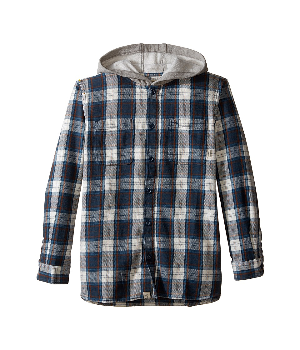 Vans Kids - Lopes Long Sleeve Shirt with Hood (Big Kids) (Midnight Navy/Marshmallow) Boy's Long Sleeve Button Up
