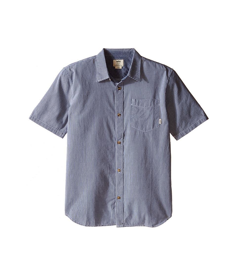 Vans Kids - Pearce Short Sleeve Woven (Big Kids) (Dress Blues/Marshmallow) Boy's Clothing