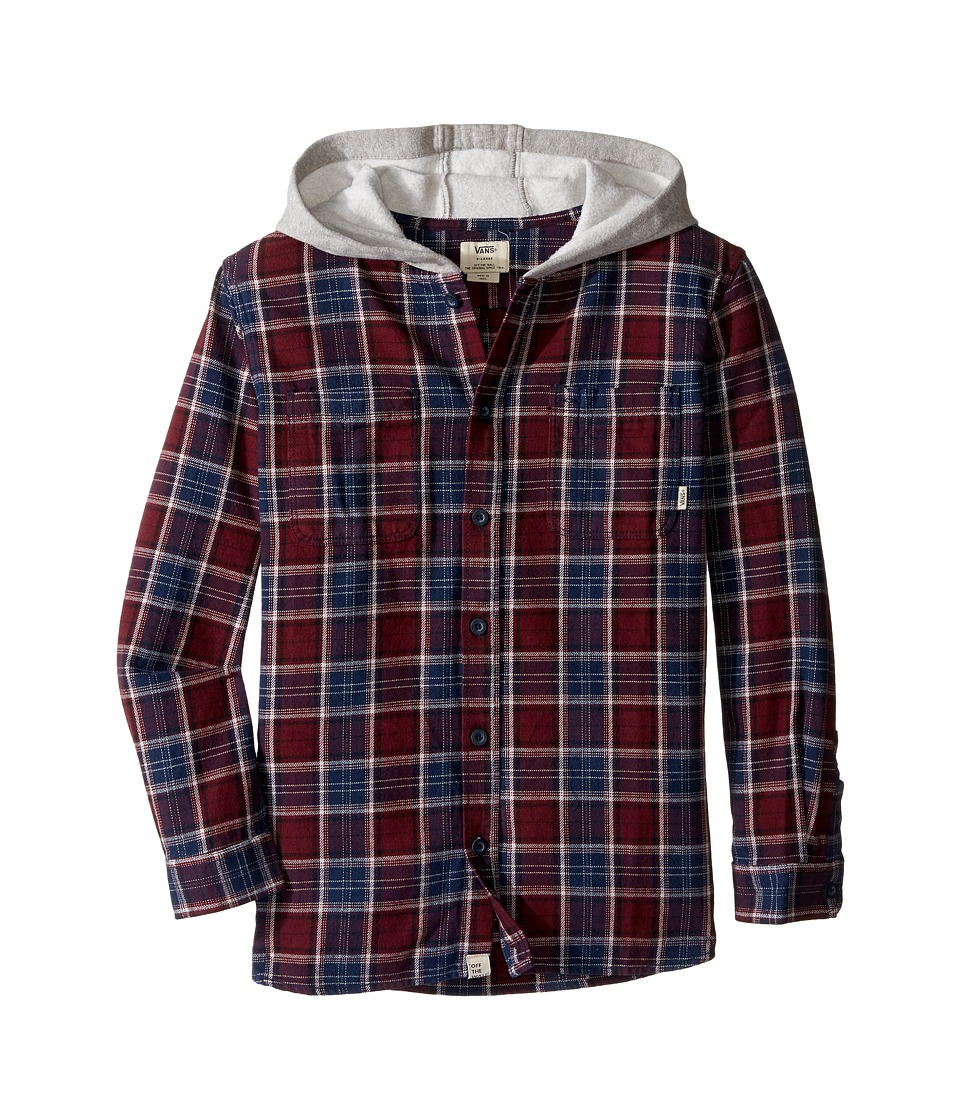 Vans Kids - Lopes Long Sleeve Shirt with Hood (Big Kids) (Port Royale/Dress Blues) Boy's Long Sleeve Button Up