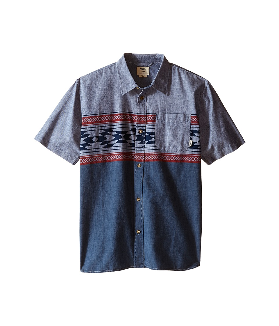 Vans Kids - Merced Short Sleeve Woven (Big Kids) (Dress Blues True Native Stripe) Boy's Clothing