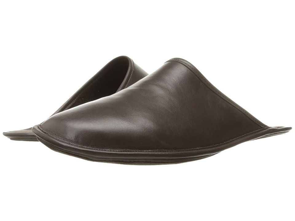 a. testoni - Leather Cashmere Lined Slipper (Moro) Men's Slippers