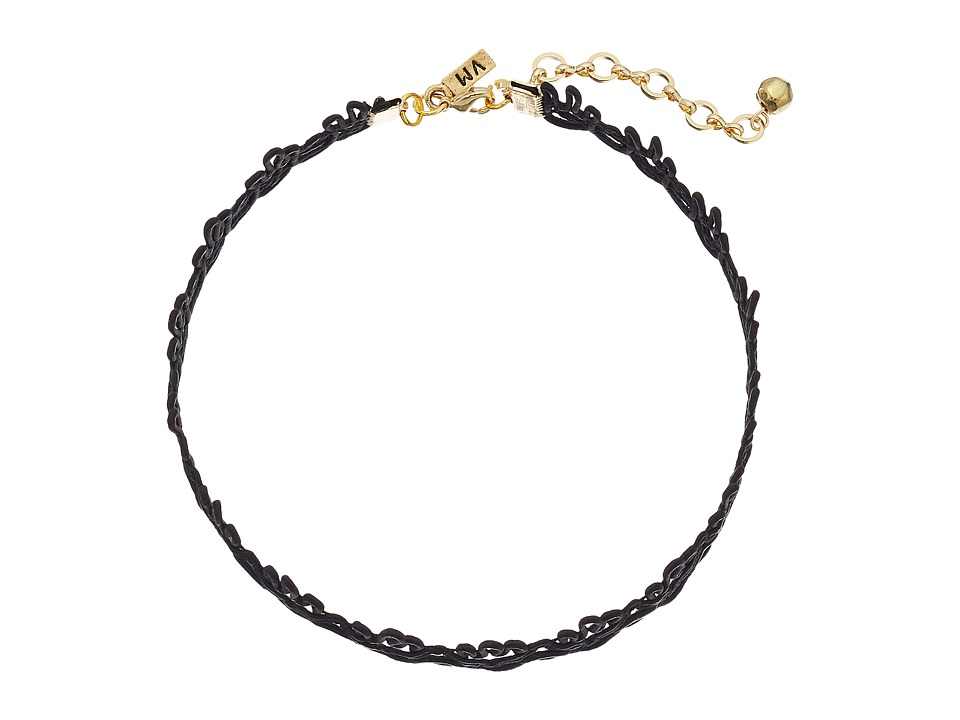 Vanessa Mooney - Cord Lace Patterned Choker Necklace (Black) Necklace