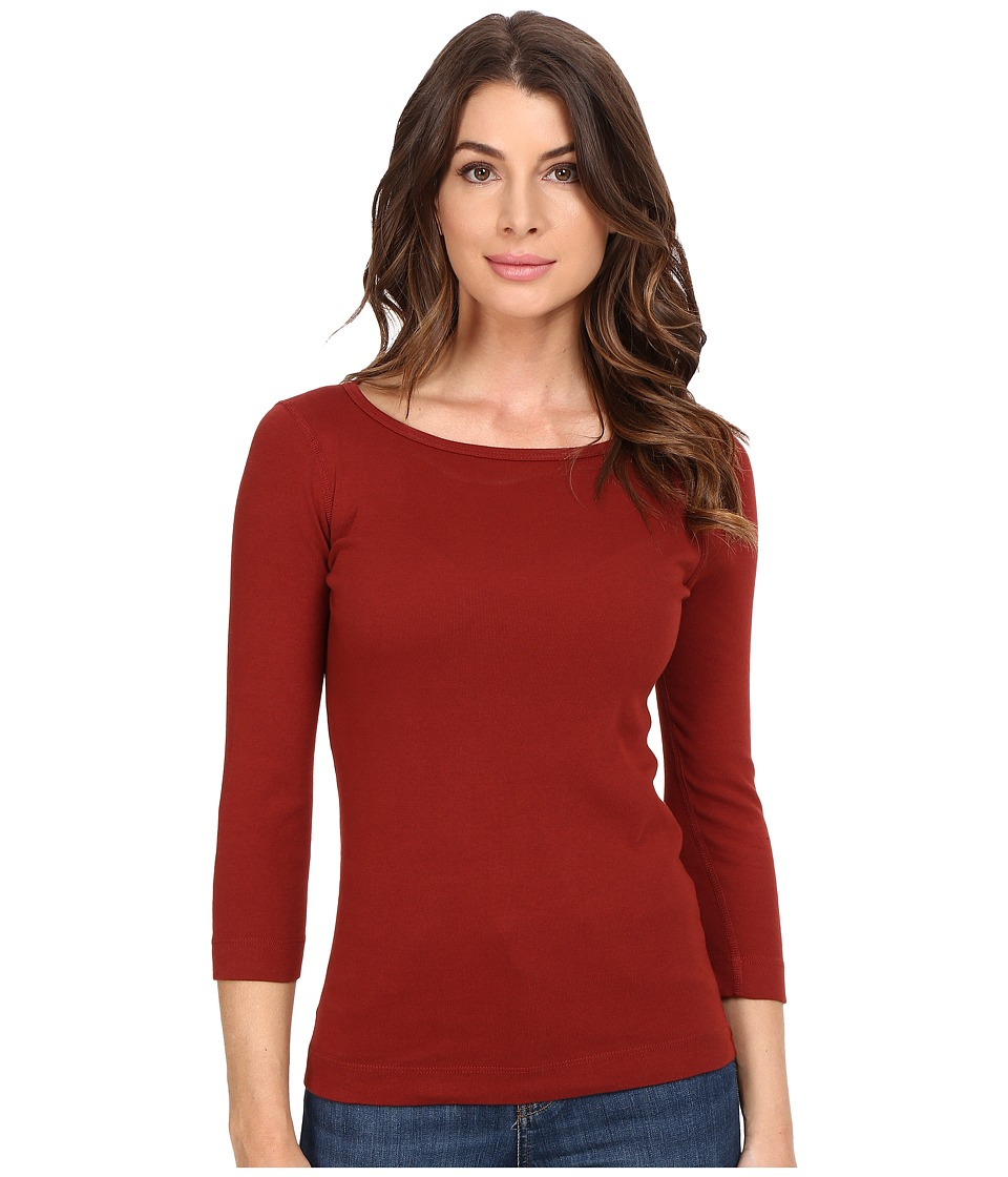 Three Dots - 3/4 Sleeve British Tee (Adobe Brick) Women's Long Sleeve Pullover