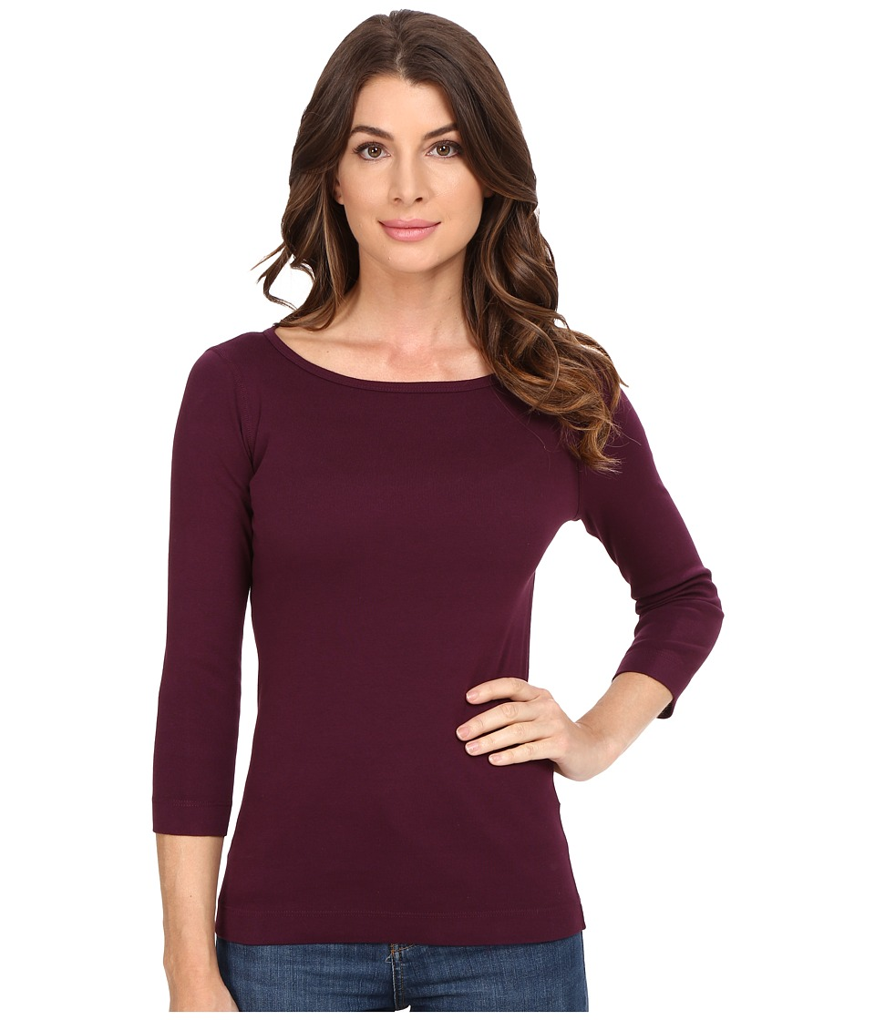 Three Dots - 3/4 Sleeve British Tee (Warm Purple) Women's Long Sleeve Pullover