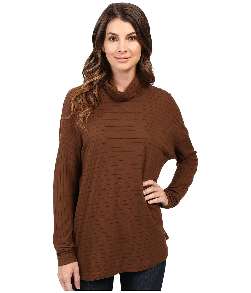 Three Dots - Jewel - Long Sleeve Turtleneck (Burnt Umber) Women's Clothing