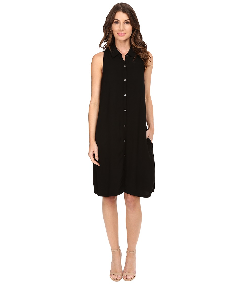 Three Dots - Sleeveless Shirtdress (Black) Women's Dress