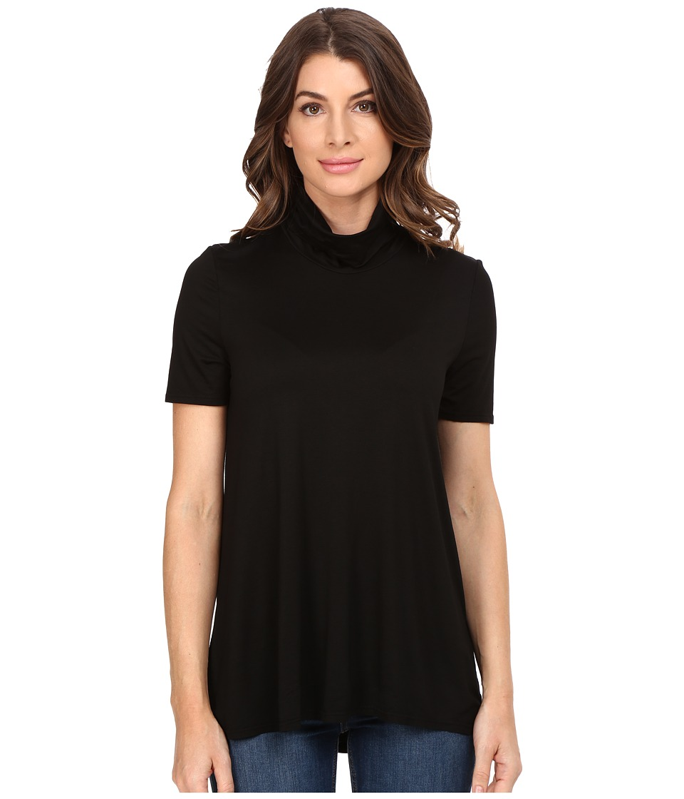 Three Dots - Janessa - Short Sleeve Turtleneck (Black) Women's Clothing