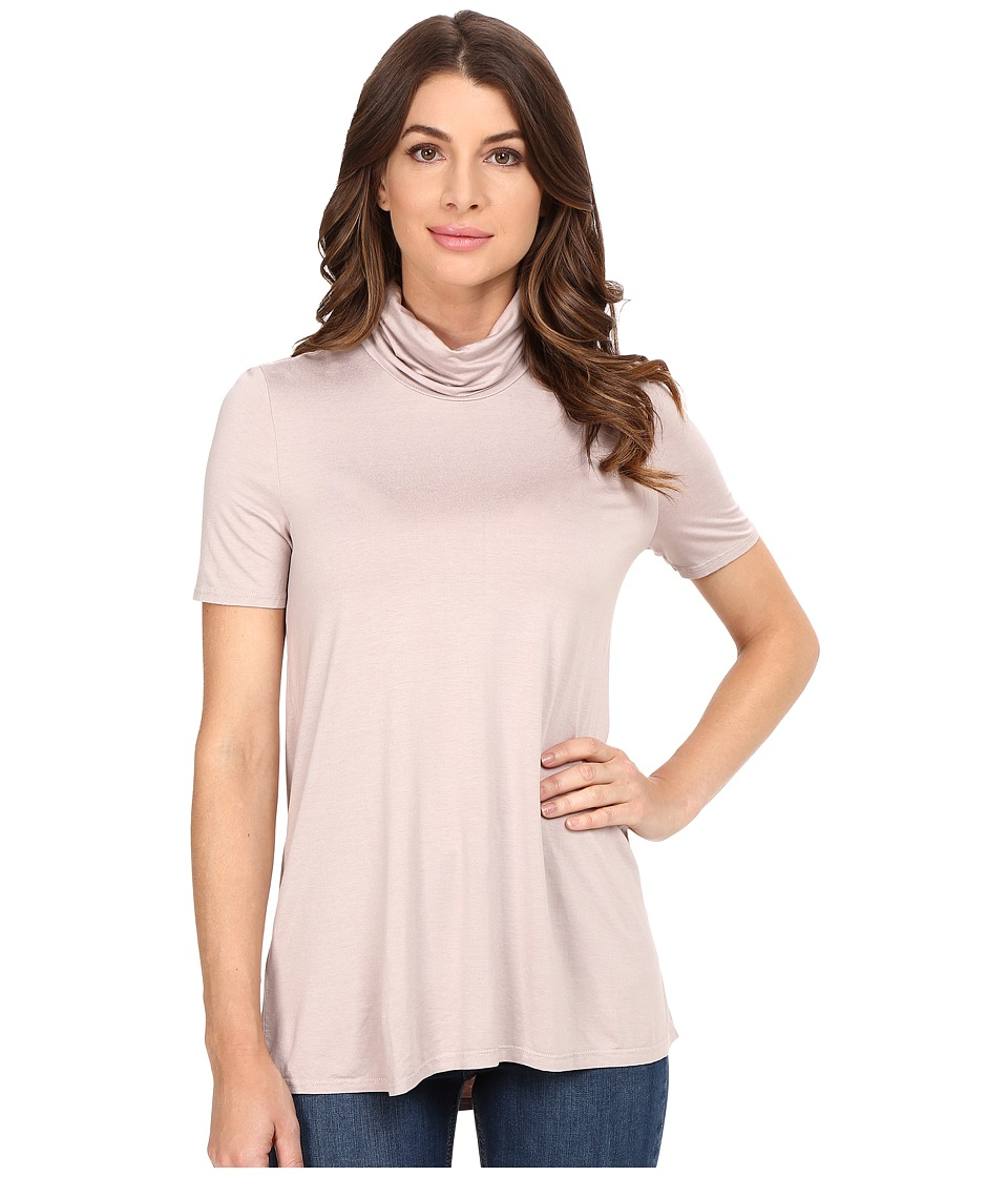 Three Dots - Janessa - Short Sleeve Turtleneck (Ballet Pink) Women's Clothing