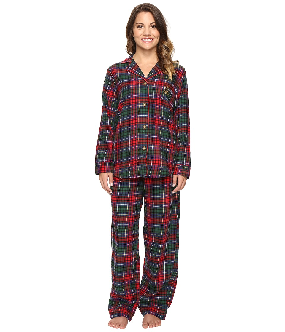 LAUREN Ralph Lauren - Petite Folded Brushed Twill Pajama (Plaid Red/Green/Blue) Women's Pajama Sets