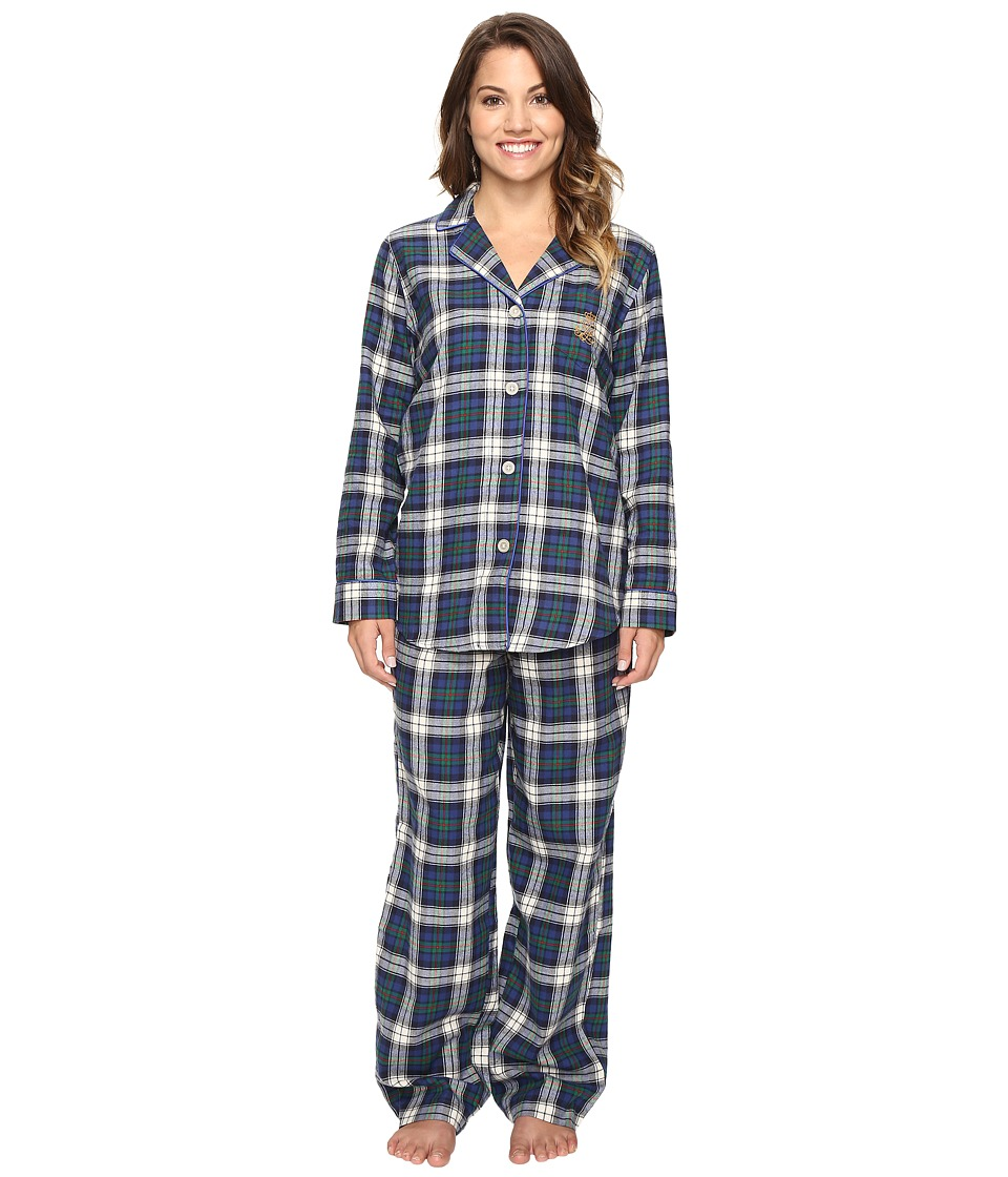 LAUREN Ralph Lauren - Petite Folded Brushed Twill Pajama (Plaid Cream/Blue/Green) Women's Pajama Sets