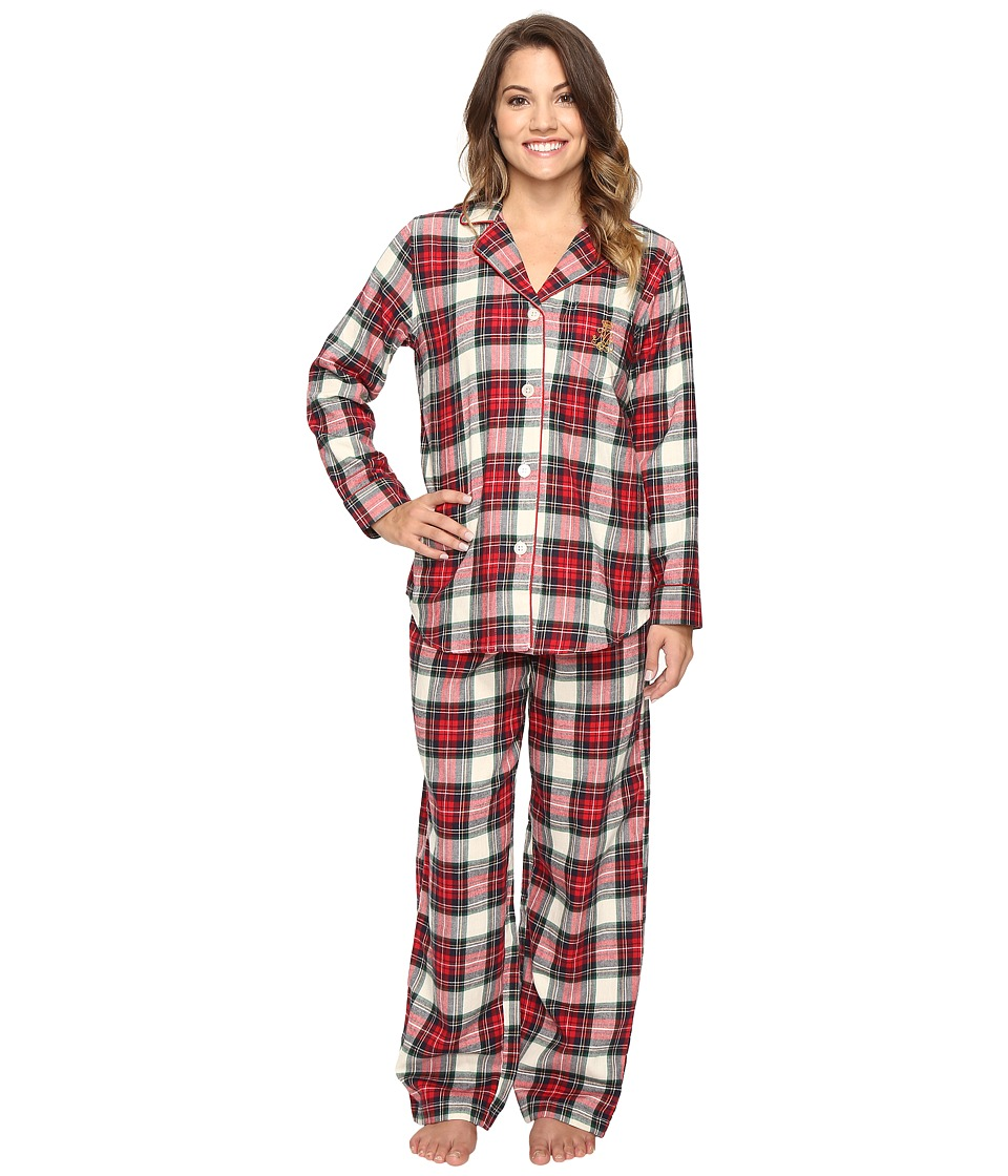 LAUREN Ralph Lauren - Petite Folded Brushed Twill Pajama (Plaid Ivory/Red/Blue) Women's Pajama Sets