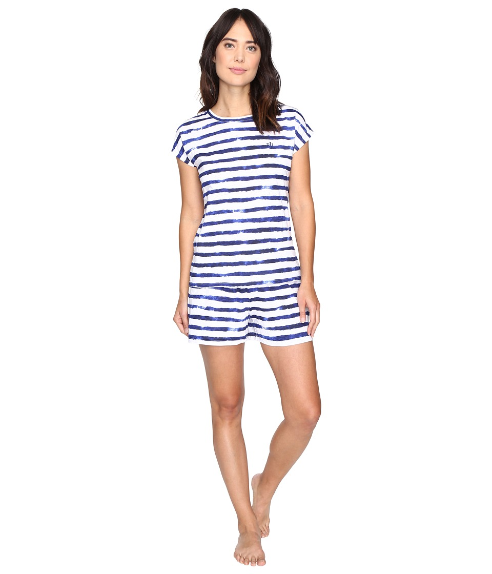 LAUREN Ralph Lauren - Jersey Knit Boxer PJ Set (Stripe Blue/White) Women's Pajama Sets