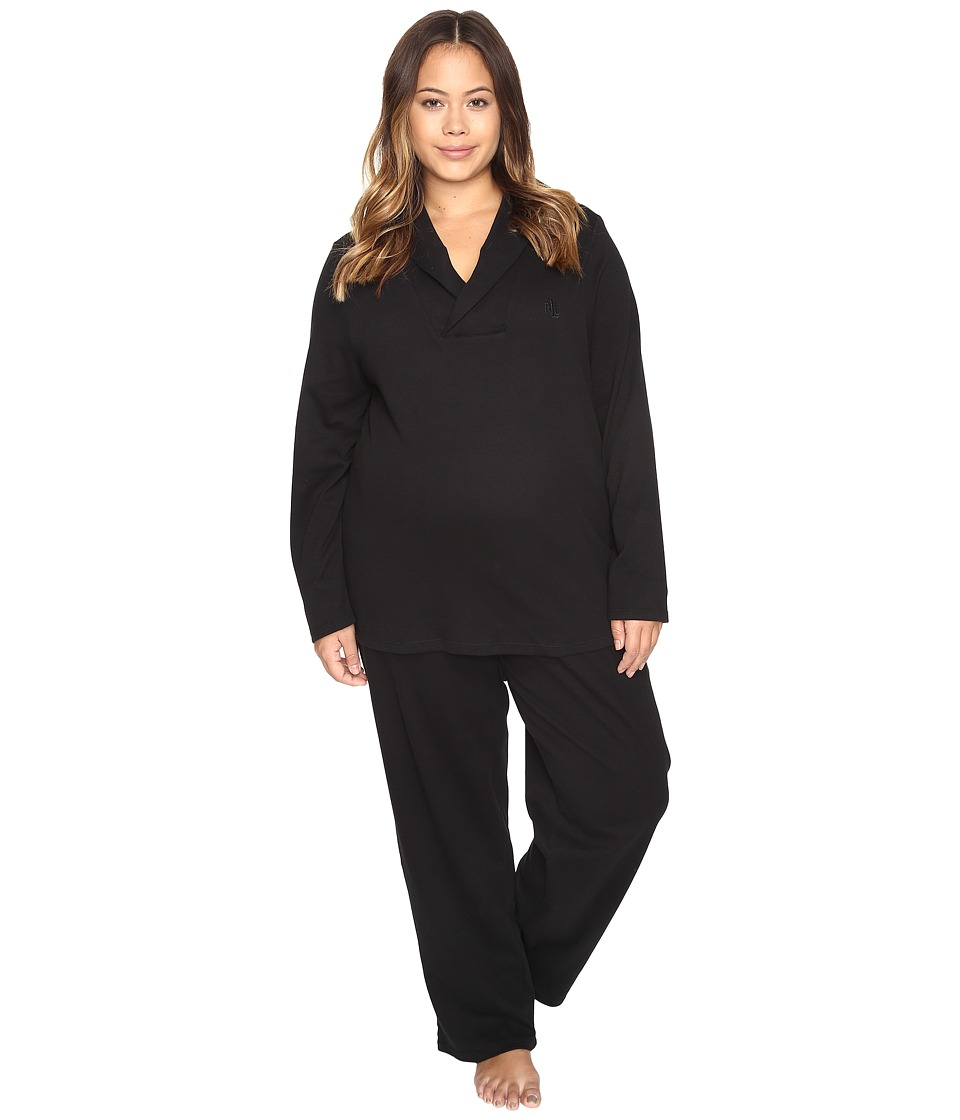 LAUREN Ralph Lauren - Plus Size Shawl Collar Pajama (Black) Women's Pajama Sets