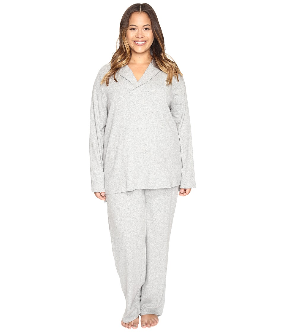 LAUREN Ralph Lauren - Plus Size Shawl Collar Pajama (Heather Grey) Women's Pajama Sets