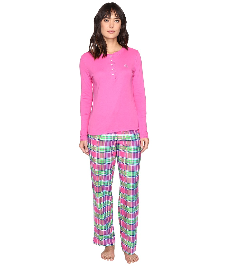 LAUREN Ralph Lauren - Henley Top Flannel Pants PJ Set (Plaid Pink) Women's Pajama Sets