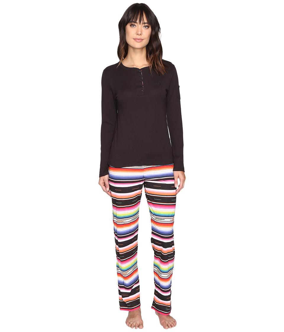 LAUREN Ralph Lauren - Long Sleeve Henley Top PJ Set (Stripe Multi) Women's Pajama Sets