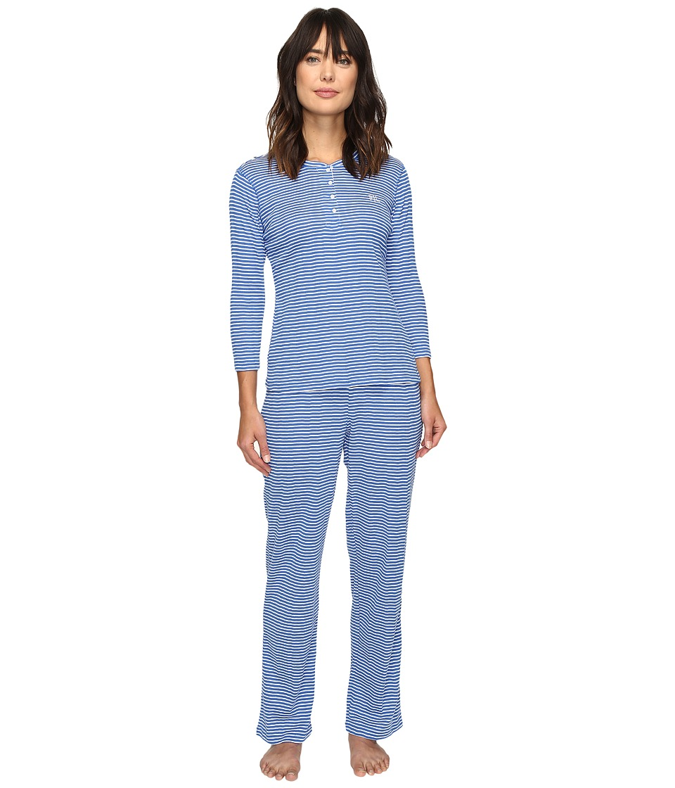 LAUREN Ralph Lauren - Rib Knit 3/4 Sleeve Pajama (Stripe Blue) Women's Pajama Sets
