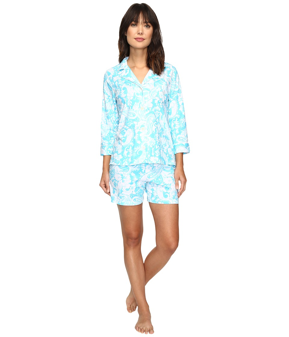 LAUREN Ralph Lauren - Knit Notch Collar Boxer PJ (Paisley Blue) Women's Pajama Sets