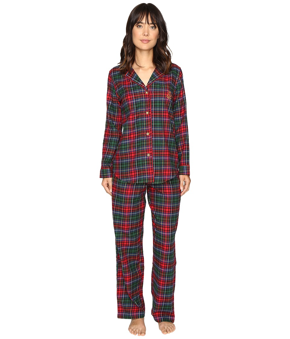 LAUREN Ralph Lauren - Folded Brushed Twill PJ (Plaid Red/Green/Blue) Women's Pajama Sets