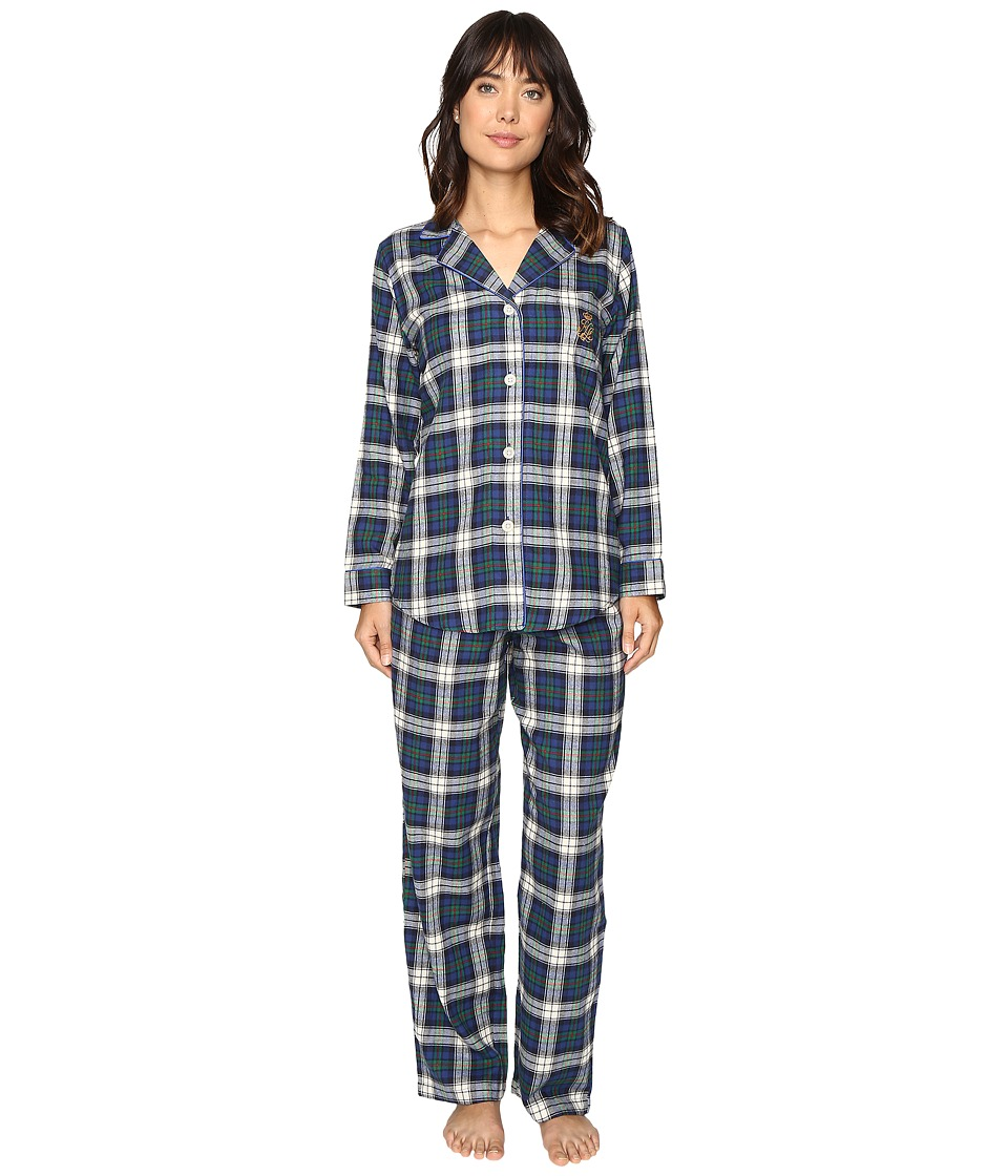 LAUREN Ralph Lauren - Folded Brushed Twill PJ (Plaid Cream/Blue/Green) Women's Pajama Sets