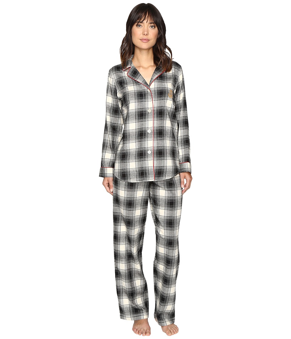 LAUREN Ralph Lauren - Folded Brushed Twill PJ (Plaid Ivory/Black) Women's Pajama Sets