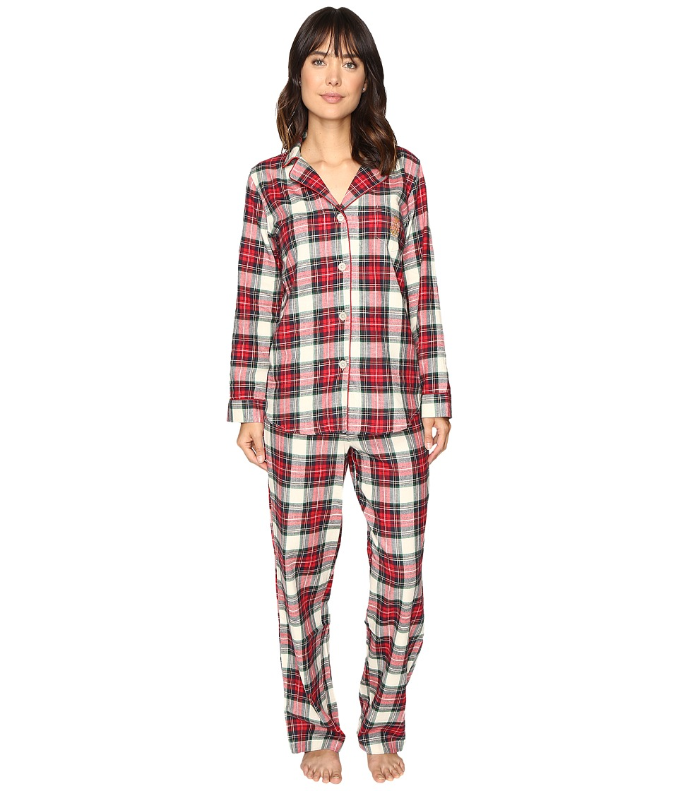 LAUREN Ralph Lauren - Folded Brushed Twill PJ (Plaid Ivory/Red/Blue) Women's Pajama Sets
