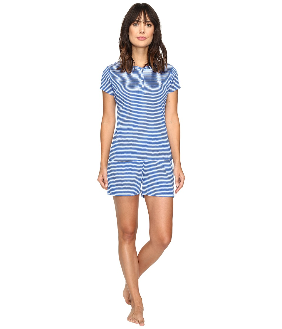 LAUREN Ralph Lauren - Rib Knit Boxer PJ (Stripe Blue) Women's Pajama Sets