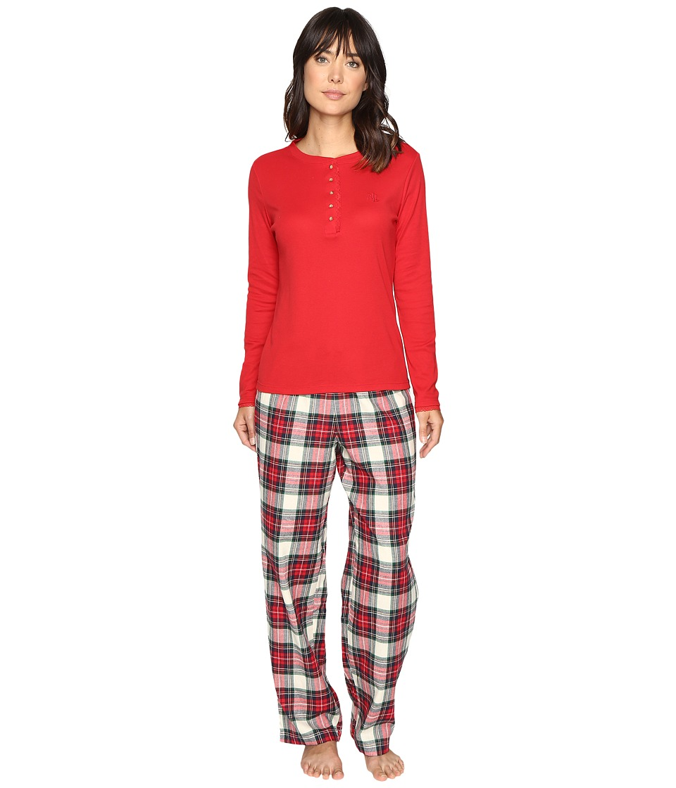 LAUREN Ralph Lauren - Folded Henley Top with Pants PJ (Plaid Ivory/Red/Blue) Women's Pajama Sets
