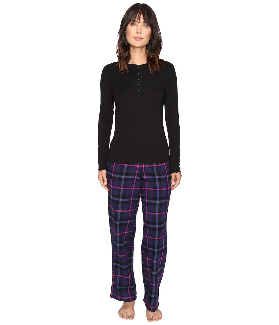 LAUREN Ralph Lauren - Folded Henley Top with Pants PJ (Plaid Purple/Black) Women's Pajama Sets