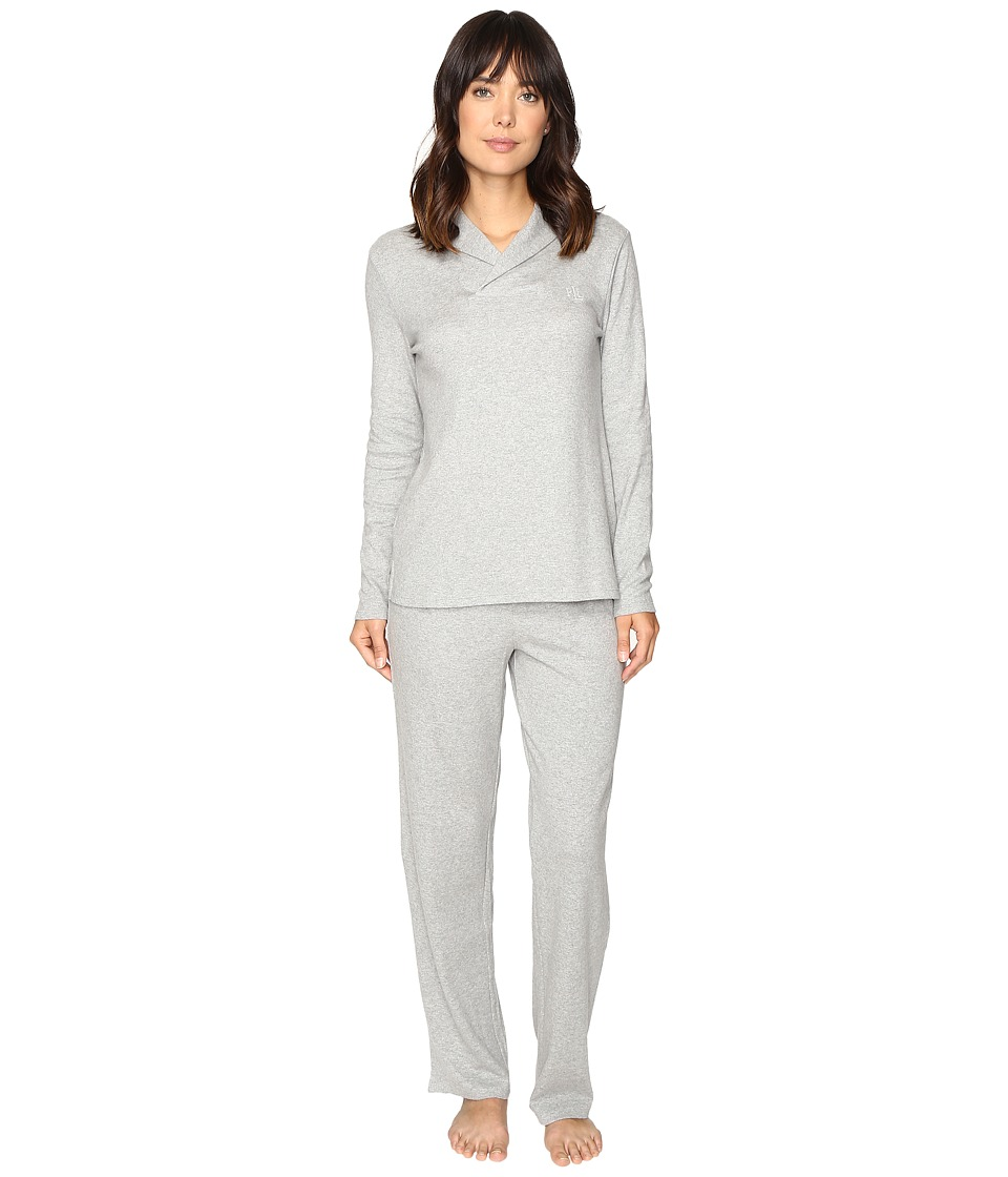LAUREN Ralph Lauren - Shawl Collar Pajama (Heather Grey) Women's Pajama Sets
