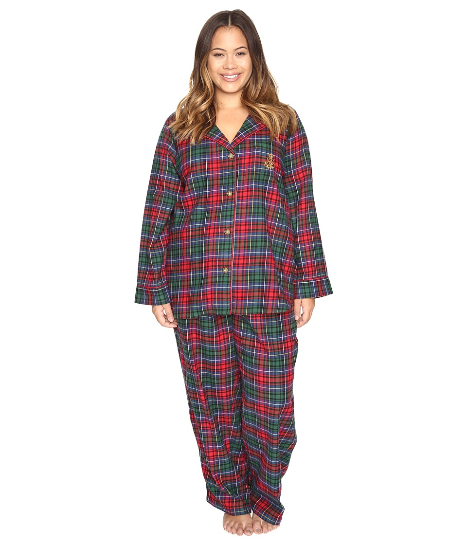 LAUREN Ralph Lauren - Plus Size Folded Brushed Twill PJ (Plaid Red/Green/Blue) Women's Pajama Sets