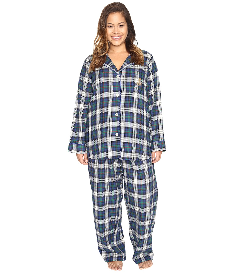 LAUREN Ralph Lauren - Plus Size Folded Brushed Twill PJ (Plaid Cream/Blue/Green) Women's Pajama Sets