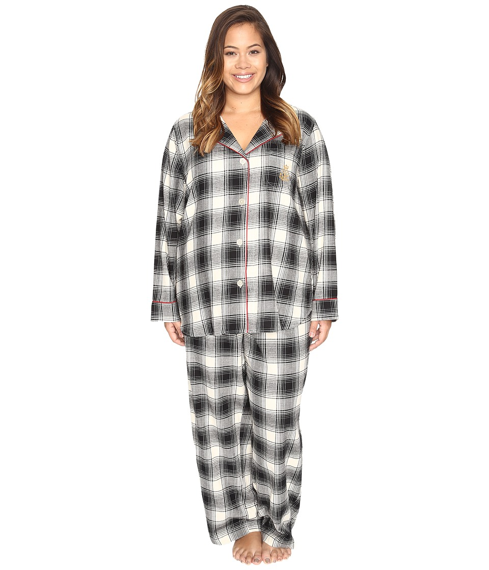LAUREN Ralph Lauren - Plus Size Folded Brushed Twill PJ (Plaid Ivory/Black) Women's Pajama Sets