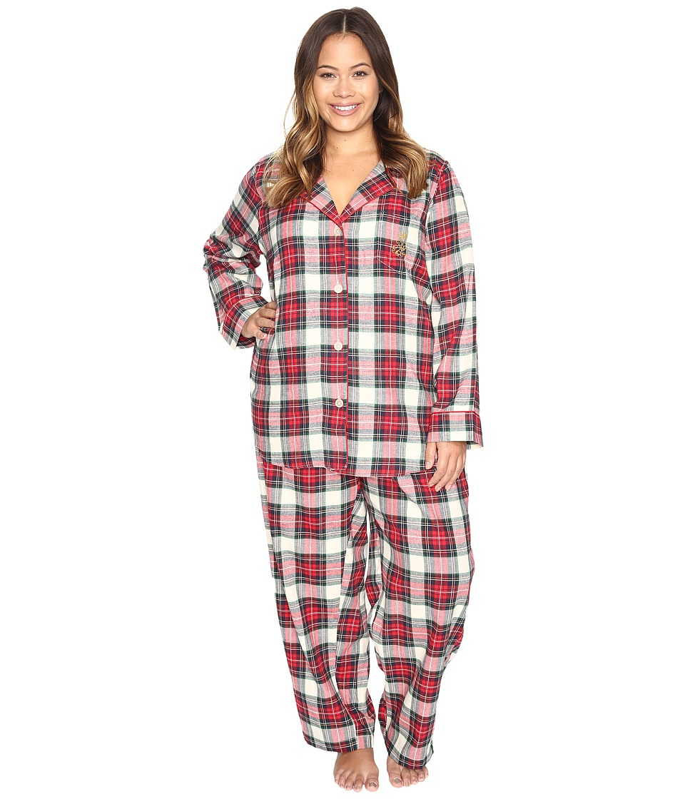 LAUREN Ralph Lauren - Plus Size Folded Brushed Twill PJ (Plaid Ivory/Red/Blue) Women's Pajama Sets