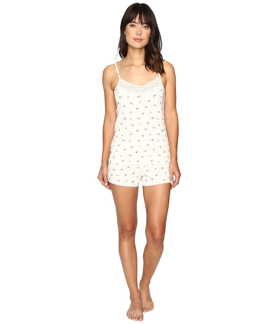 LAUREN Ralph Lauren - Rib Knit Cami Tap Set (Rosebud Cream) Women's Pajama Sets