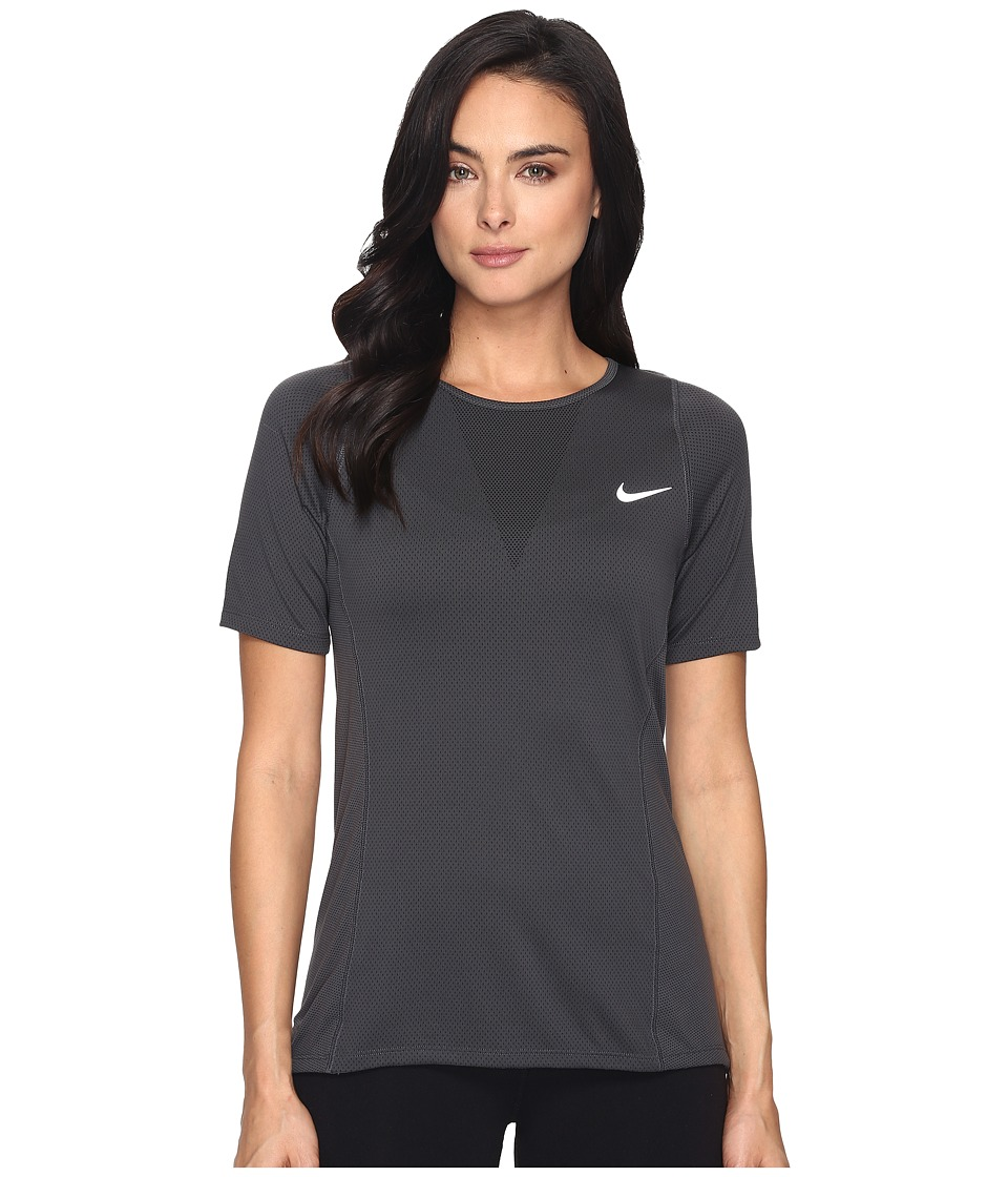 Nike - Zonal Cooling Relay Short Sleeve Running Top (Black) Women's Clothing