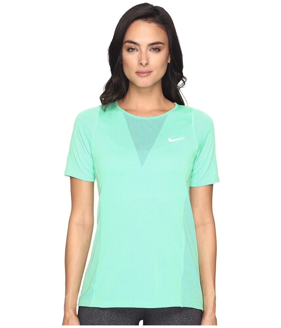 Nike - Zonal Cooling Relay Short Sleeve Running Top (Electro Green/Reflective Silver) Women's Clothing
