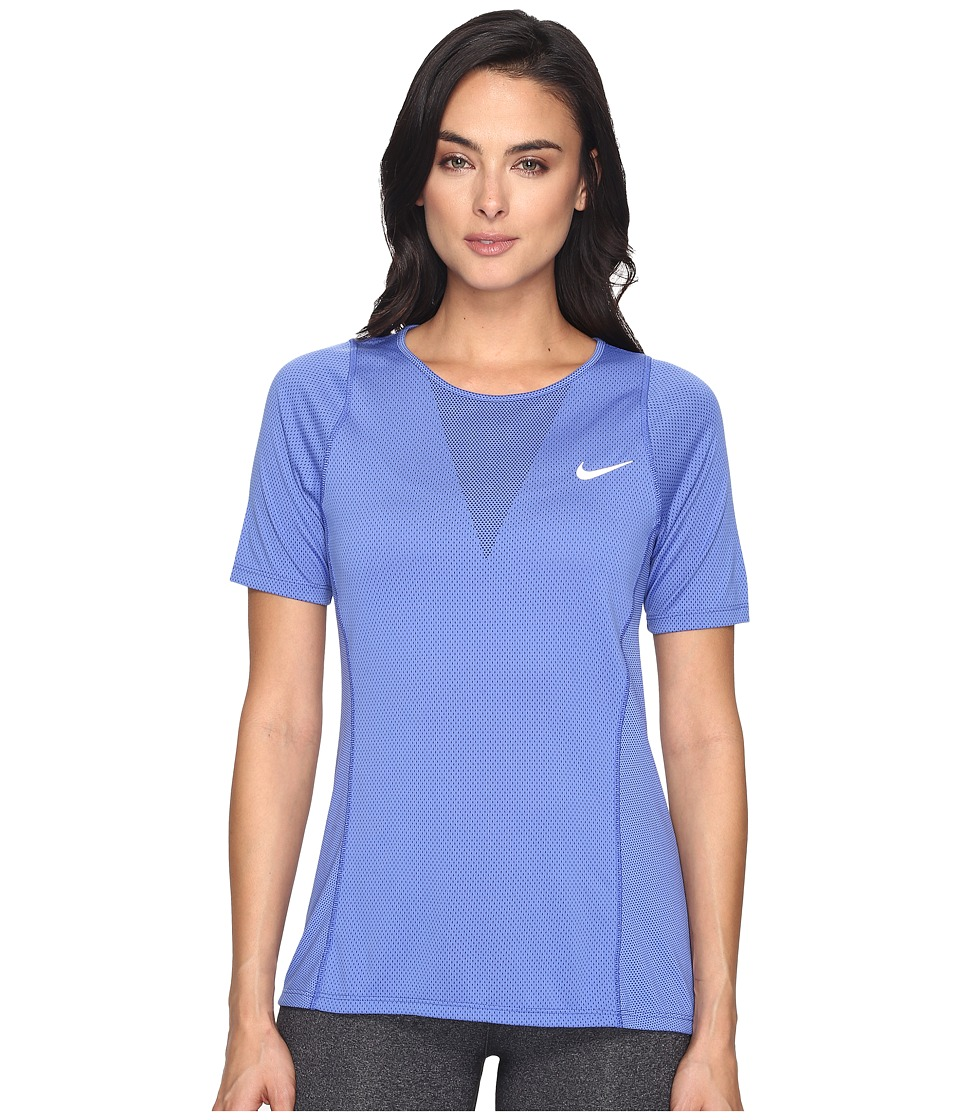 Nike - Zonal Cooling Relay Short Sleeve Running Top (Comet Blue/Reflective Silver) Women's Clothing