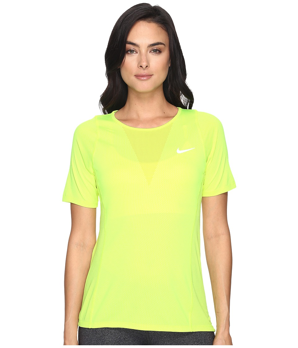 Nike - Zonal Cooling Relay Short Sleeve Running Top (Volt/Reflective Silver) Women's Clothing